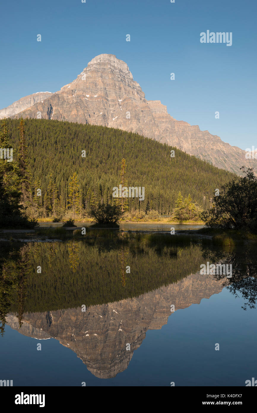Reflection of Howse Peak at Waterfowl Lake Campground in Banff National Park, Alberta, Canada. - Stock Image