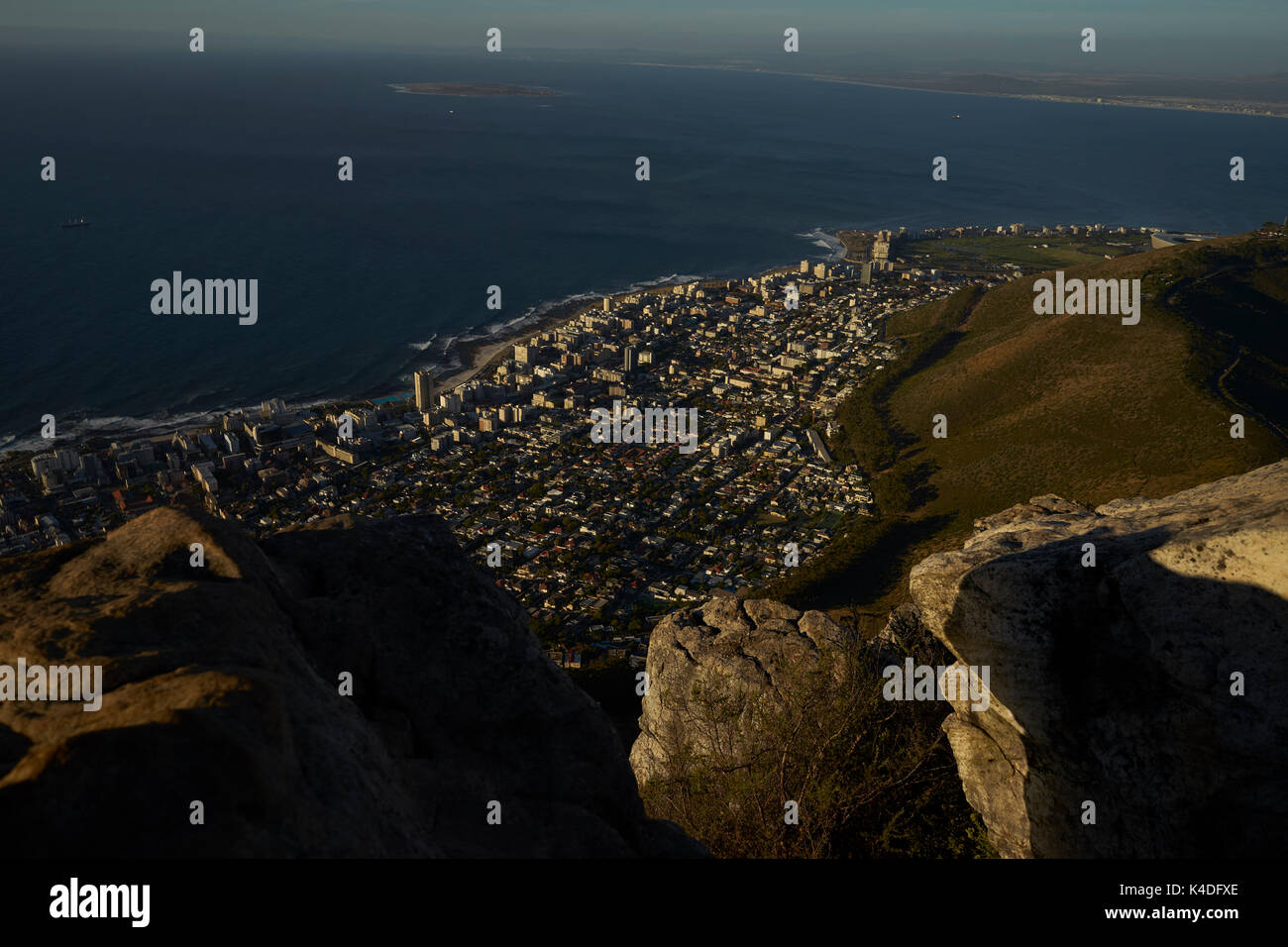 Aerial View over Cape Town in the evening light - Stock Image