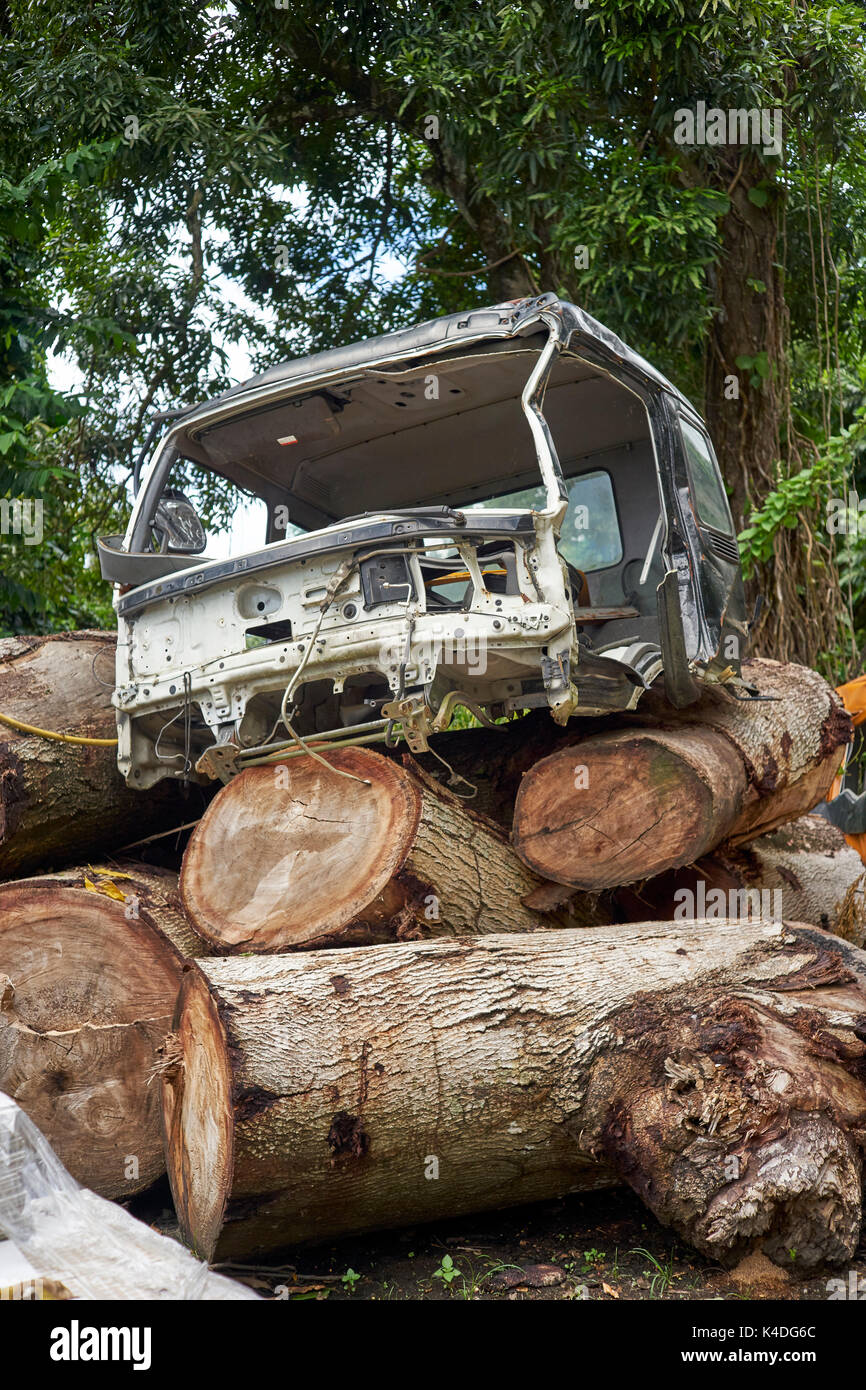 Scrapped truck chassis placed on thick wooden trunks - Stock Image