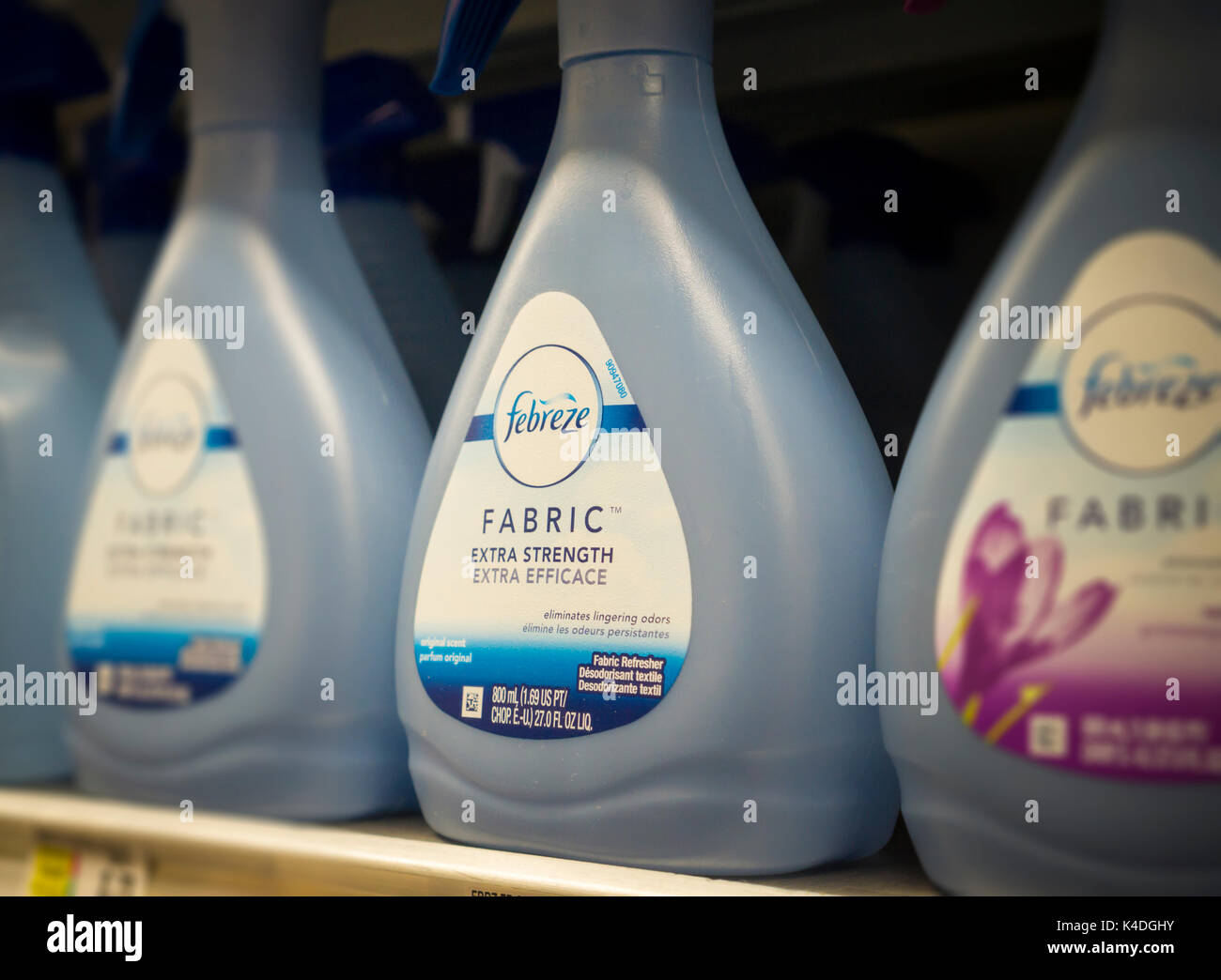 Bottles of Procter & Gamble's Febreeze odor eliminator on a supermarket shelf in New York on Wednesday, August 30, 2017. P&G announced it is listing the ingredients on Febreeze and Herbal Essences, which contain tetrahydrolinalool, in a push for more transparency in labels. Coincidently Wal-mart announced that it will require all vendors to list ingredients on their labels by next year and Target will require the same by 2020. (© Richard B. Levine) - Stock Image