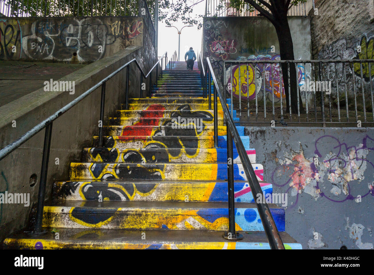 A decorated step street in the bronx borough of new york on sunday september 3 2017 due to the hilly nature of upper manhattan and western bronx their