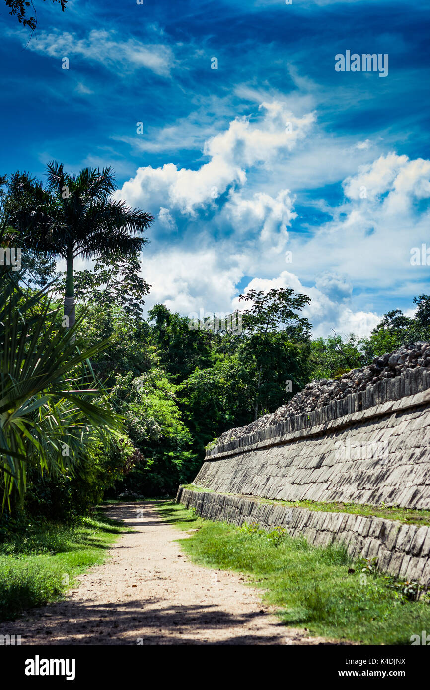 Detail of the archaeological site of Chichen Itza, Yucatan, Mexico - Stock Image