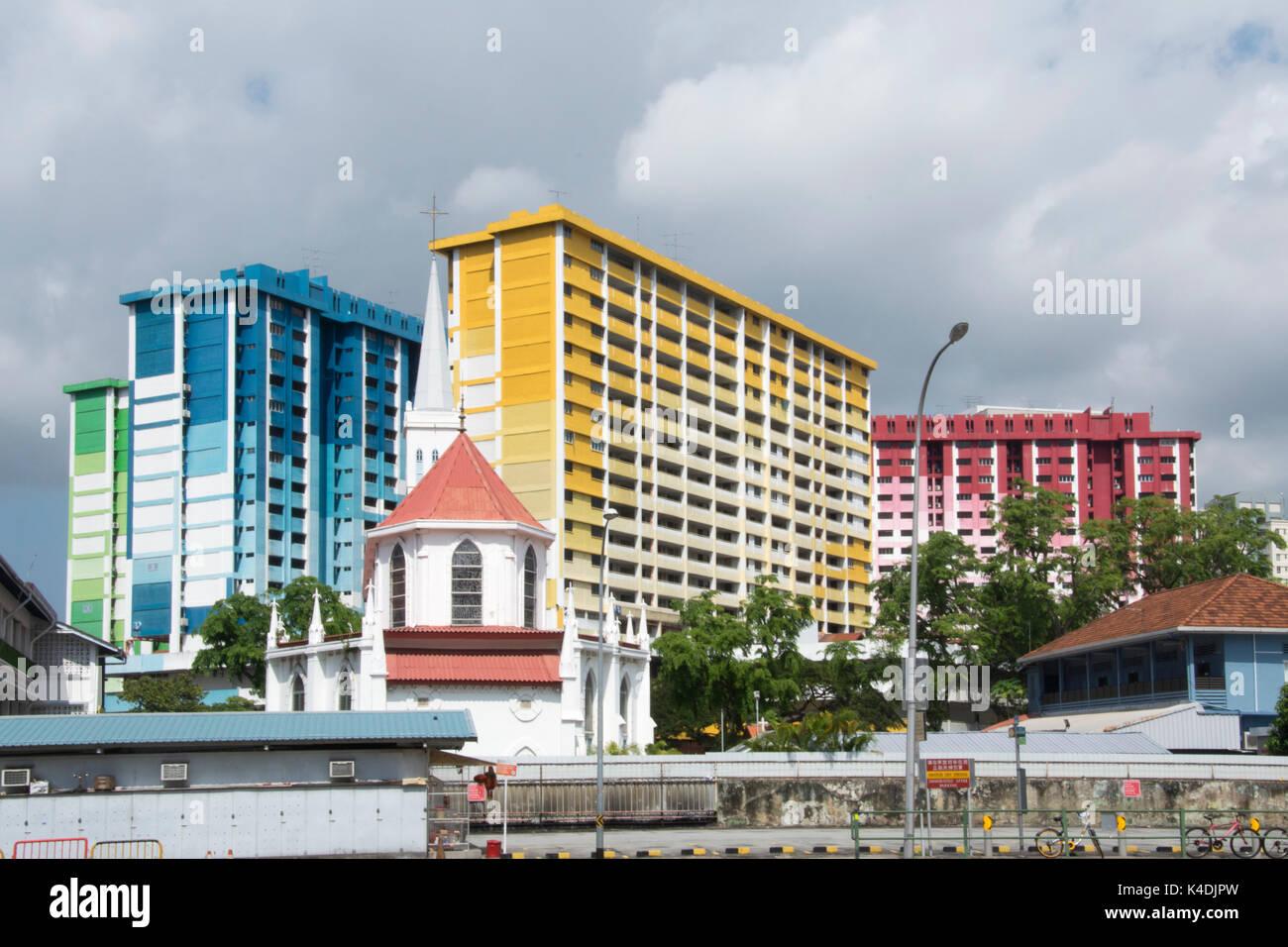 1970s public housing blocks facing demolition ahead of a traffic interchange development, Rochor Road area, Singapore - Stock Image