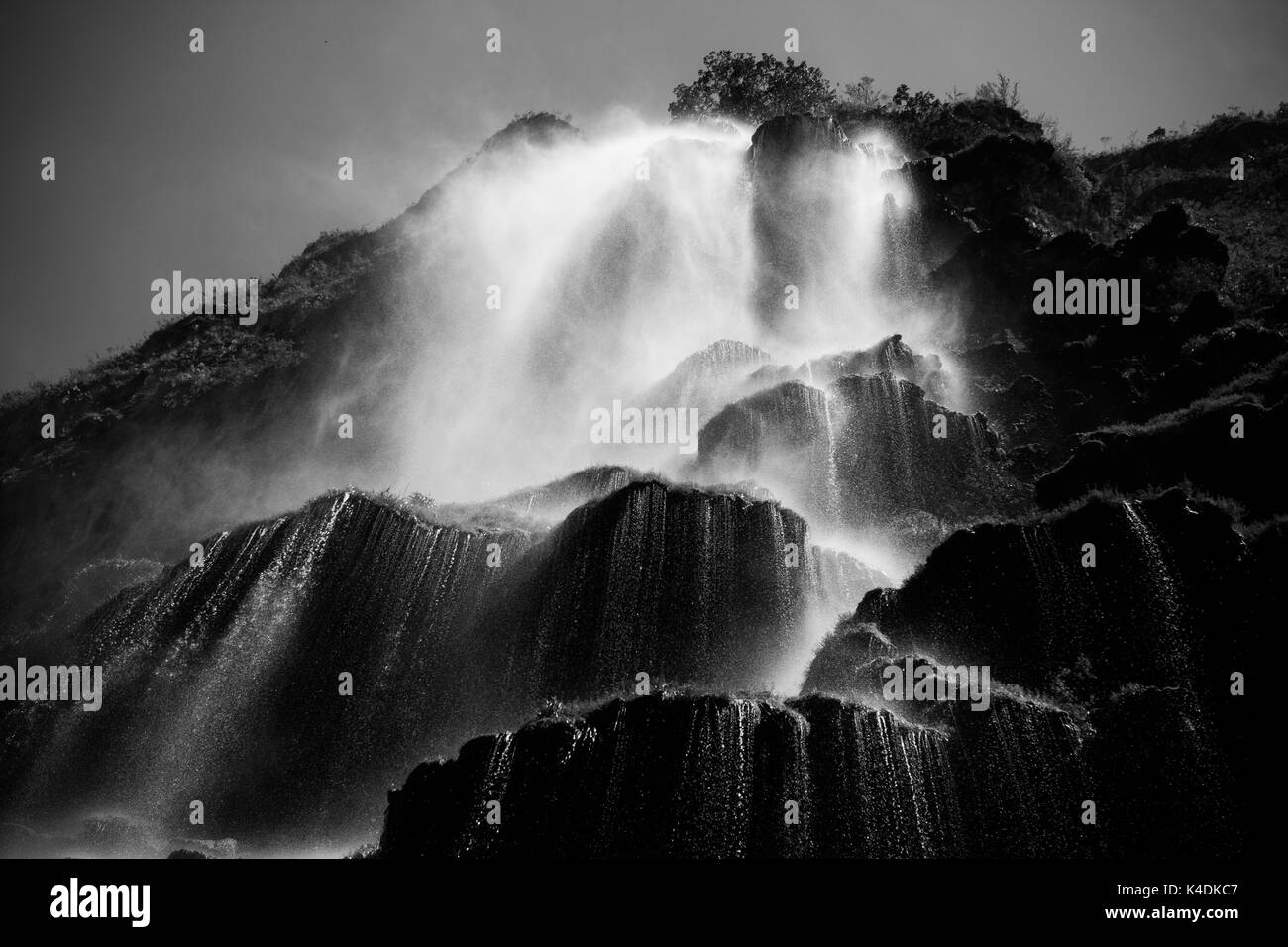 Black and white picture from below the Waterfall in the Canyon del Sumidero, Chiapas, Mexico. - Stock Image