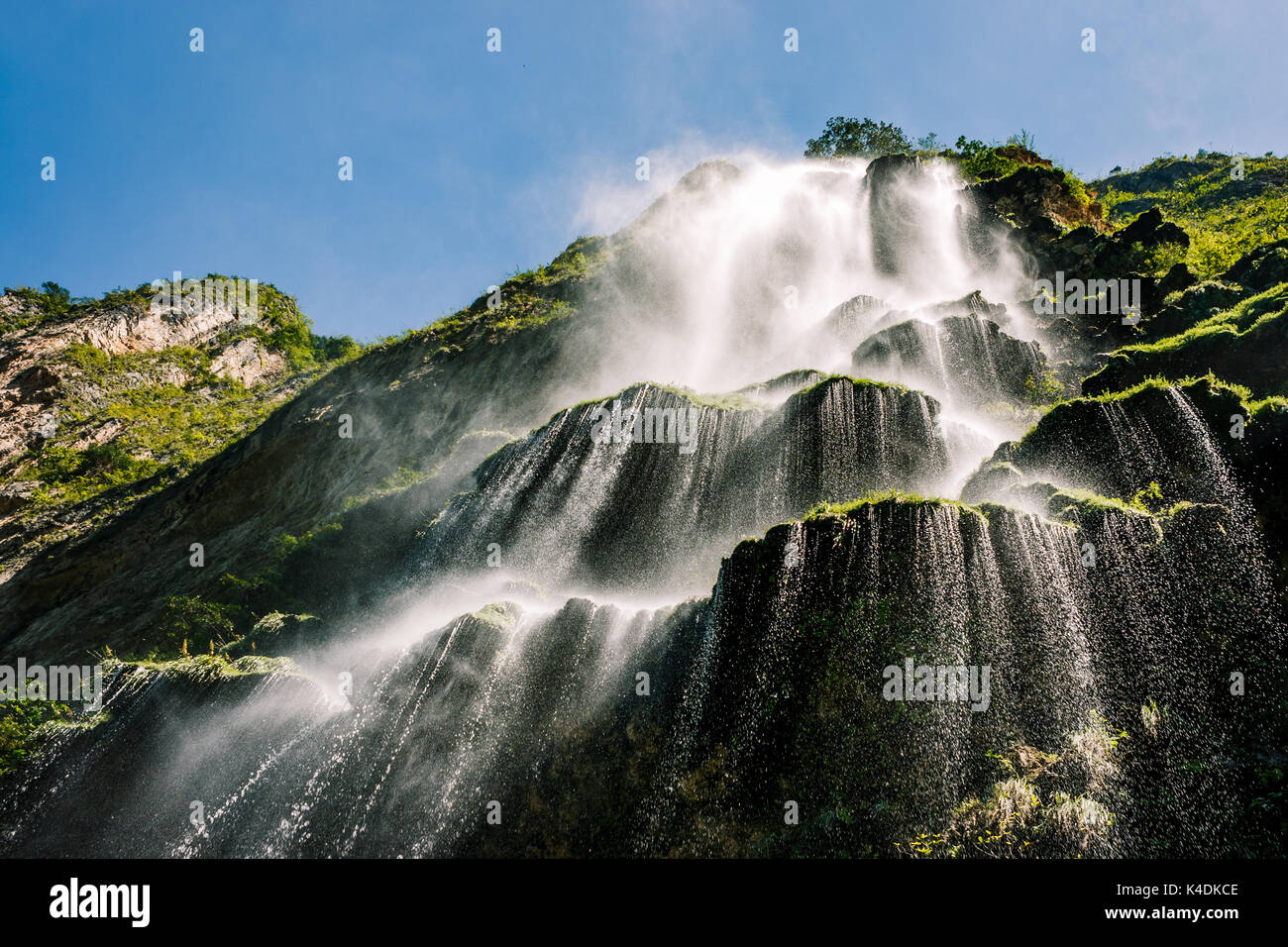 Picture from below the Waterfall in the Canyon del Sumidero, Chiapas, Mexico. - Stock Image