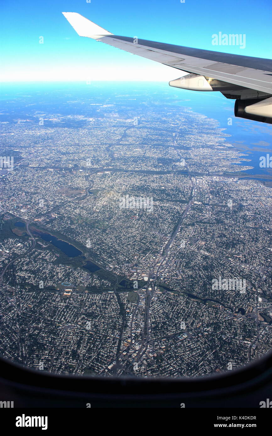 Aerial View of American Metropolitan  Urban Sprawl taken from an airplane window. - Stock Image