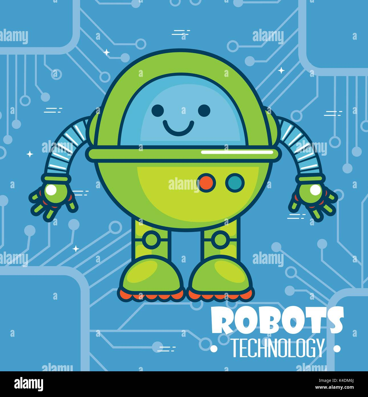 cute cartoon robots technology Stock Vector