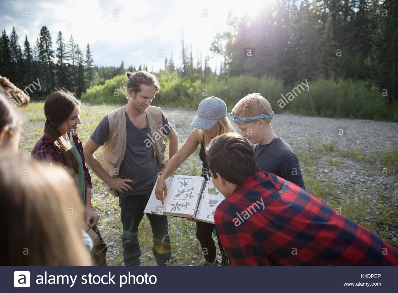 Teachers showing plant photographs to teenage outdoor school students in sunny field - Stock Image