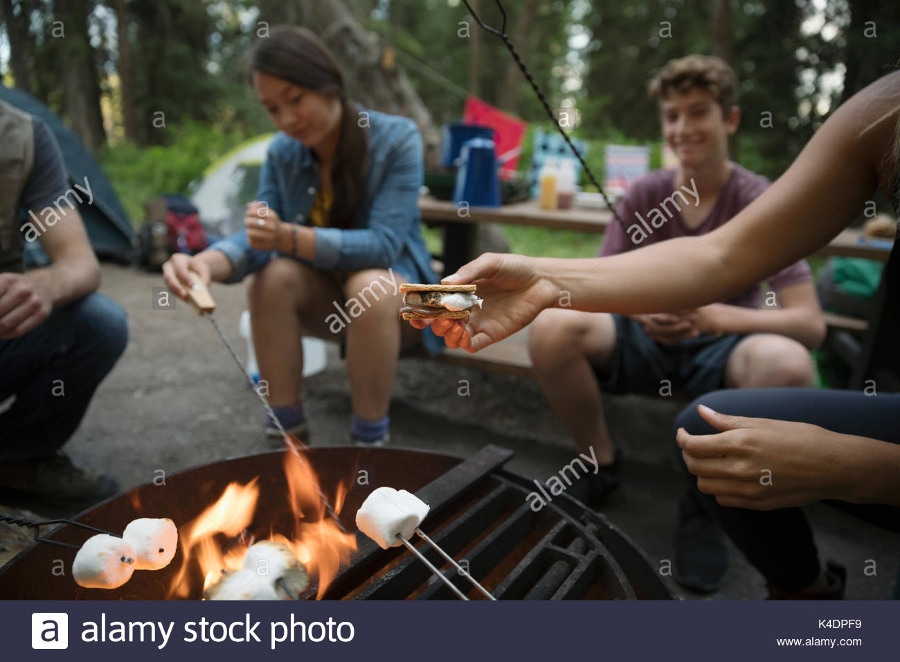 Teenage outdoor school students toasting marshmallows, making smores at campsite campfire - Stock Image