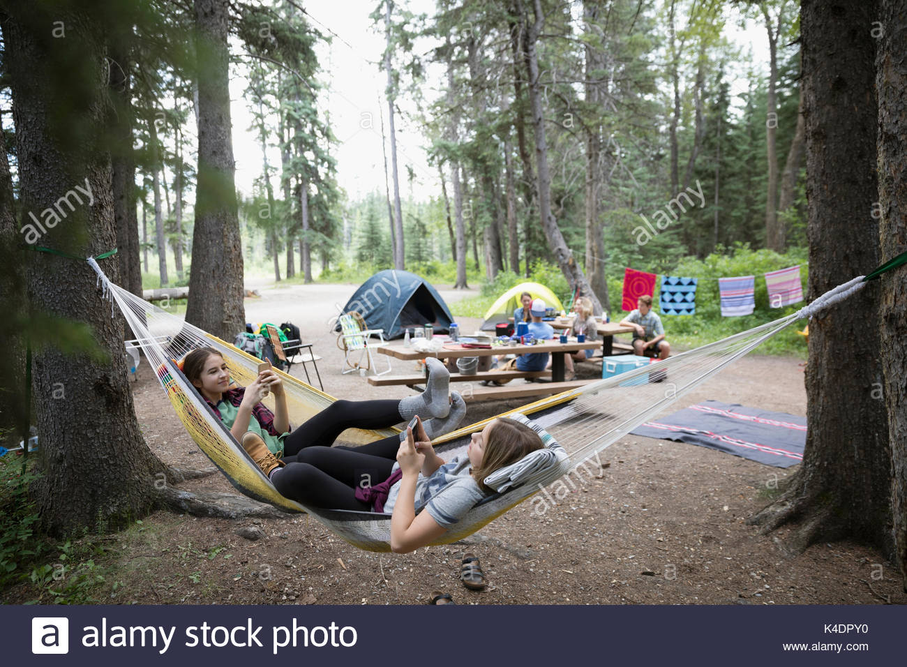 Teenage girl friends relaxing, texting with cell phones in hammocks at outdoor school campsite - Stock Image