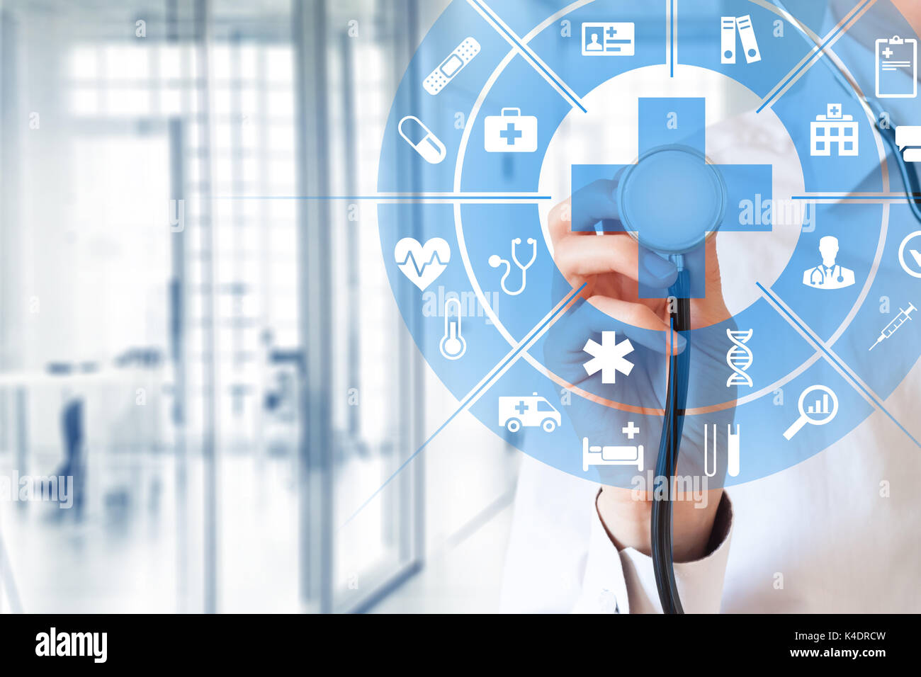 Health care and medical services concept with circular AR interface and female doctor using stethoscope Stock Photo