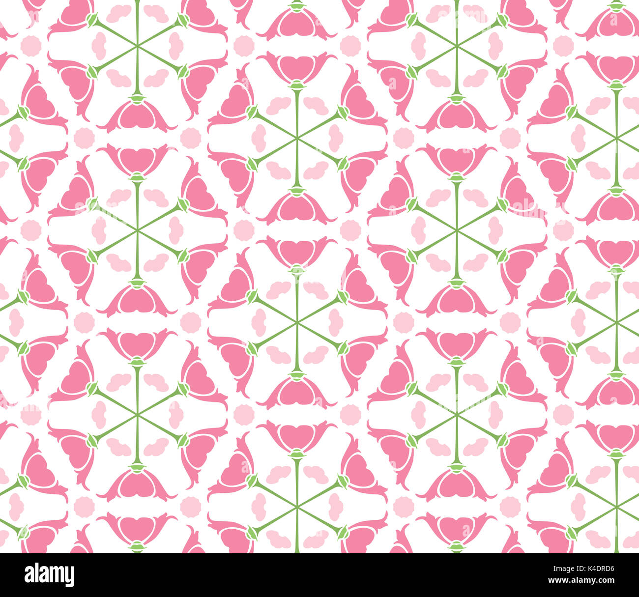 Seamless pattern made of pink illustrated stylised flowers - Stock Image
