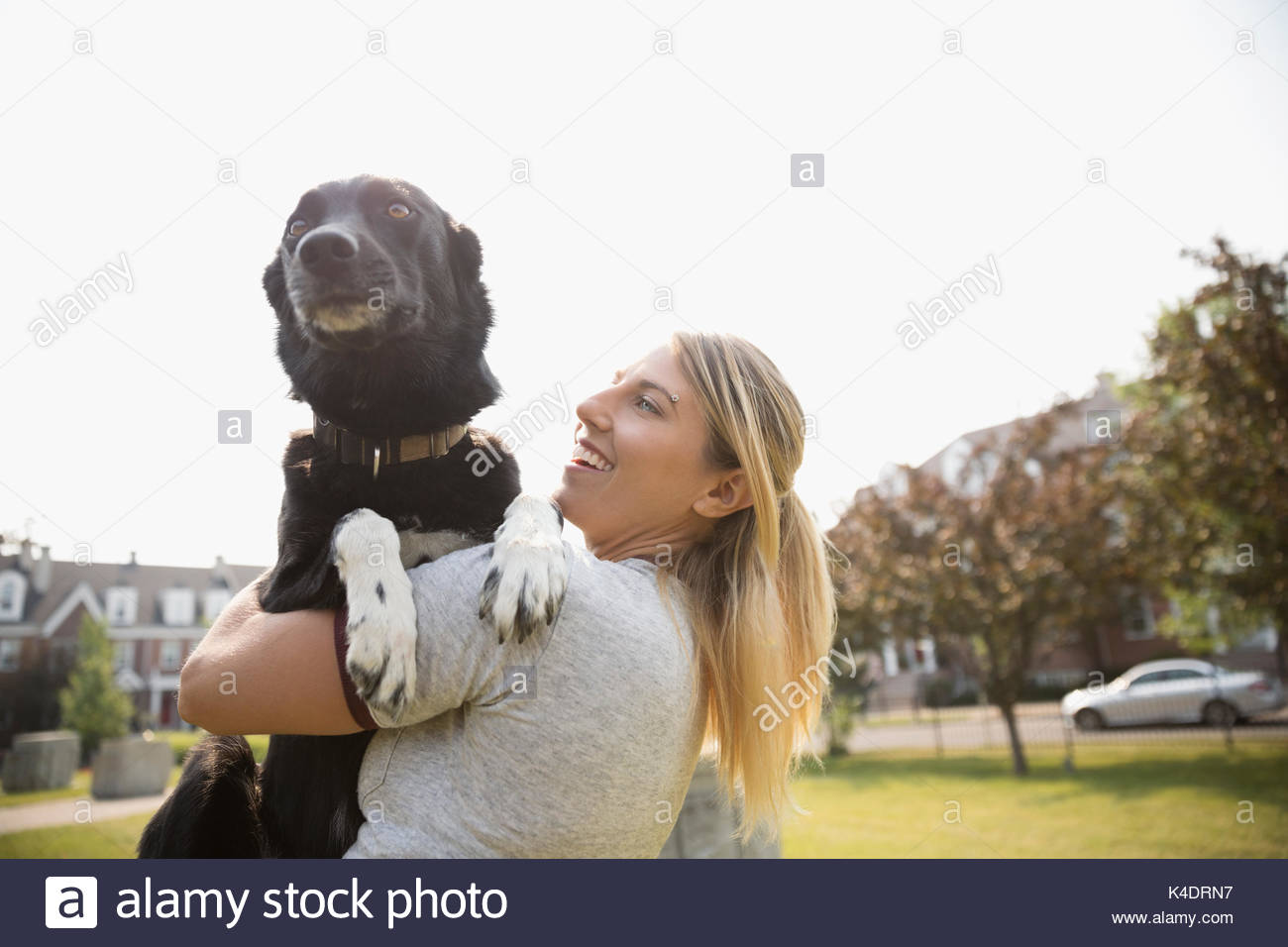 Female pet owner holding dog in park - Stock Image