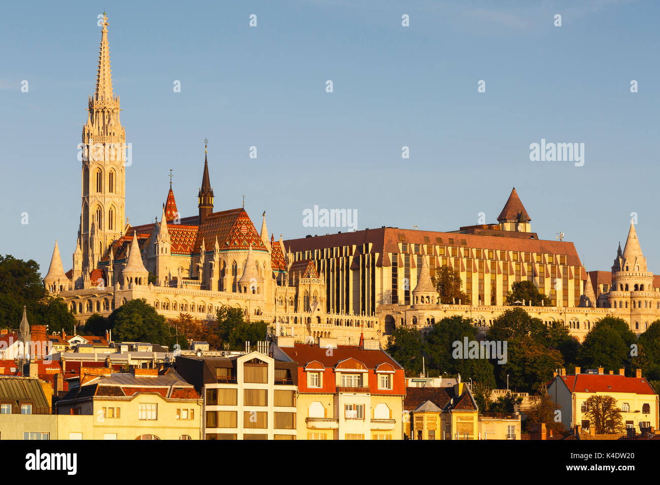 Morning view of historic city centre of Buda, Hungary. - Stock Image