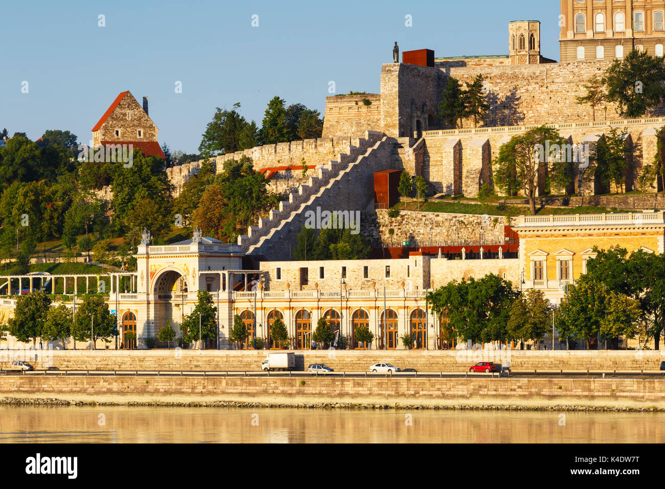 Morning view of Buda castle fortifications and gardens over the river Danube, Hungary. - Stock Image