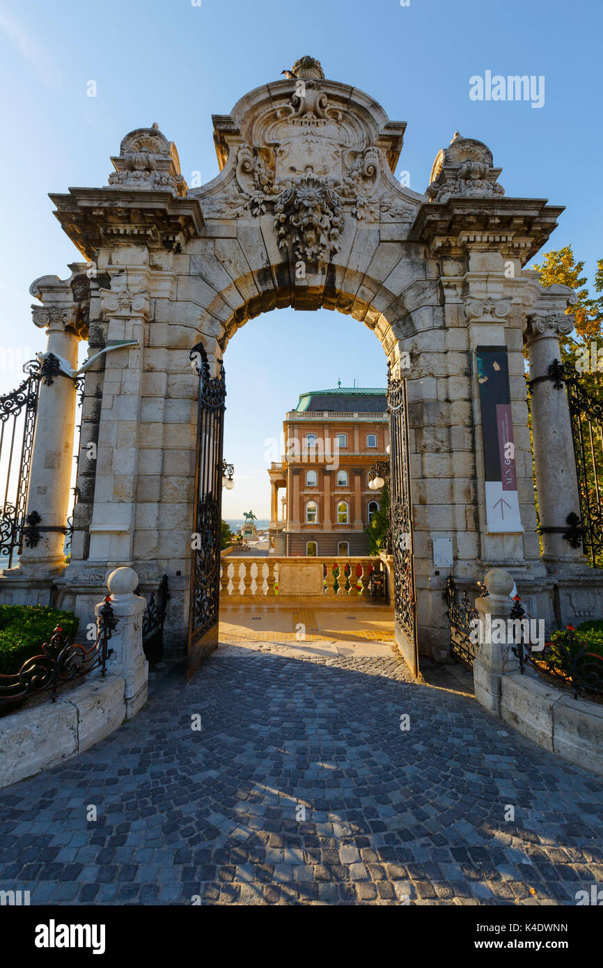 Morning view of Buda castle through a gate of the complex. Stock Photo