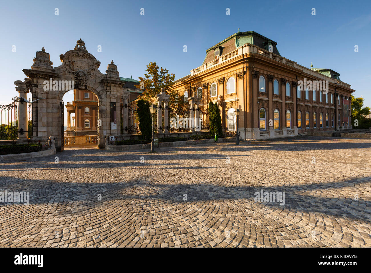 Morning view of Buda castle. - Stock Image