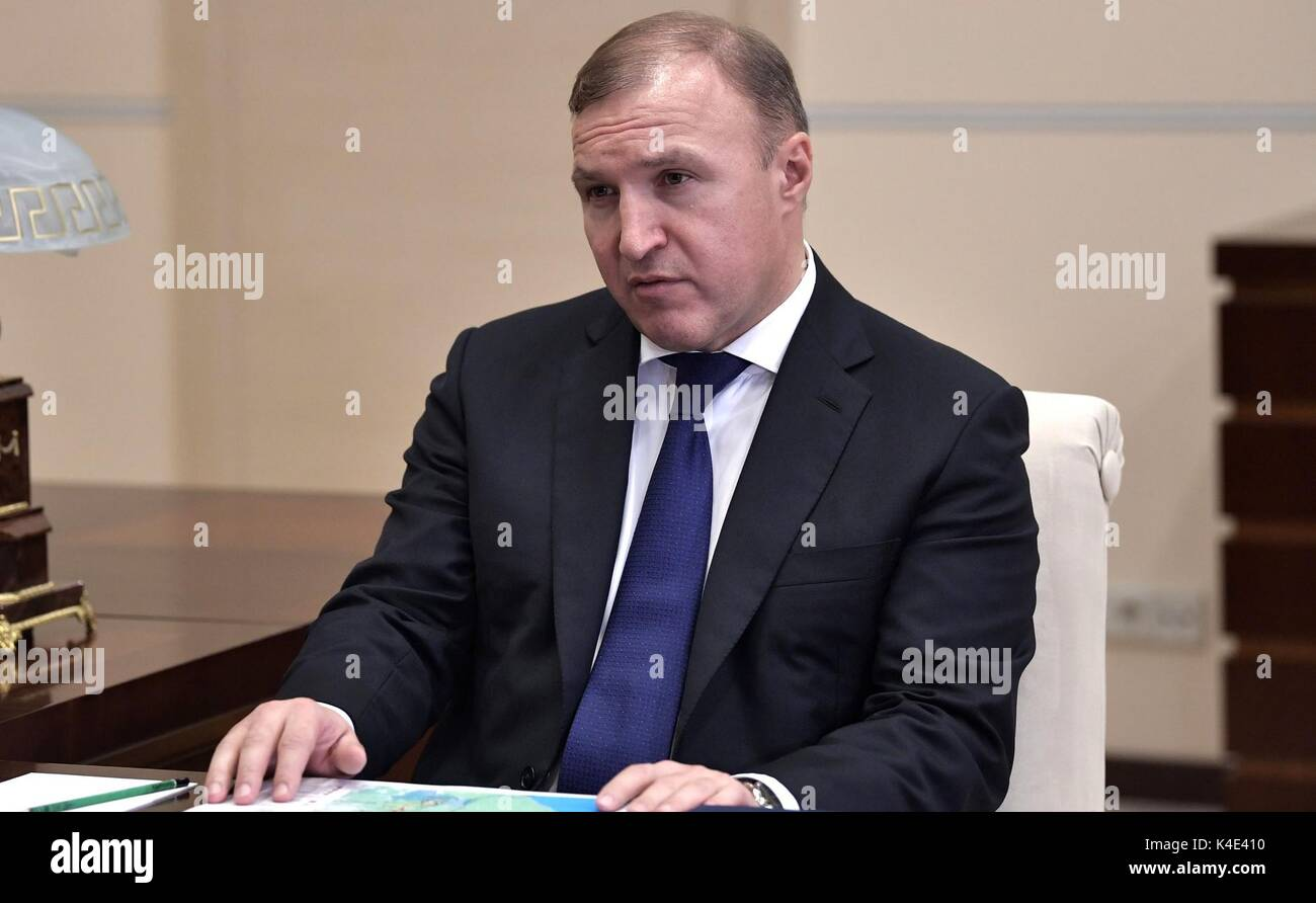 Acting Head of Republic of Adygeya Murat Kumpilov during a meeting with Russian President Vladimir Putin at the Novo Ogaryovo residence August 30, 2017 in Moscow, Russia. - Stock Image