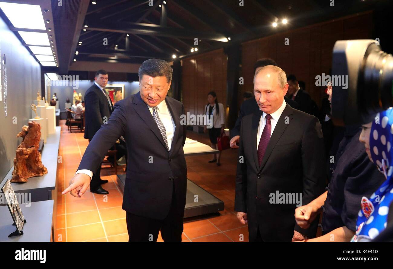 Russian President Vladimir Putin during a tour of Chinese Arts and Crafts with Chinese President Xi Jinping, left, September 3, 2017 in Xiamen, China. - Stock Image