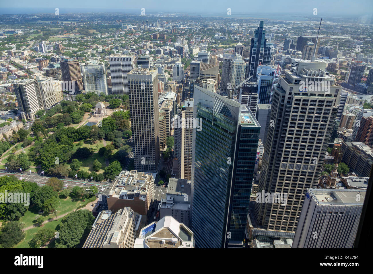 Aerial View Of Central Business District And Hyde Park Sydney From The Sydney Tower Eye - Stock Image