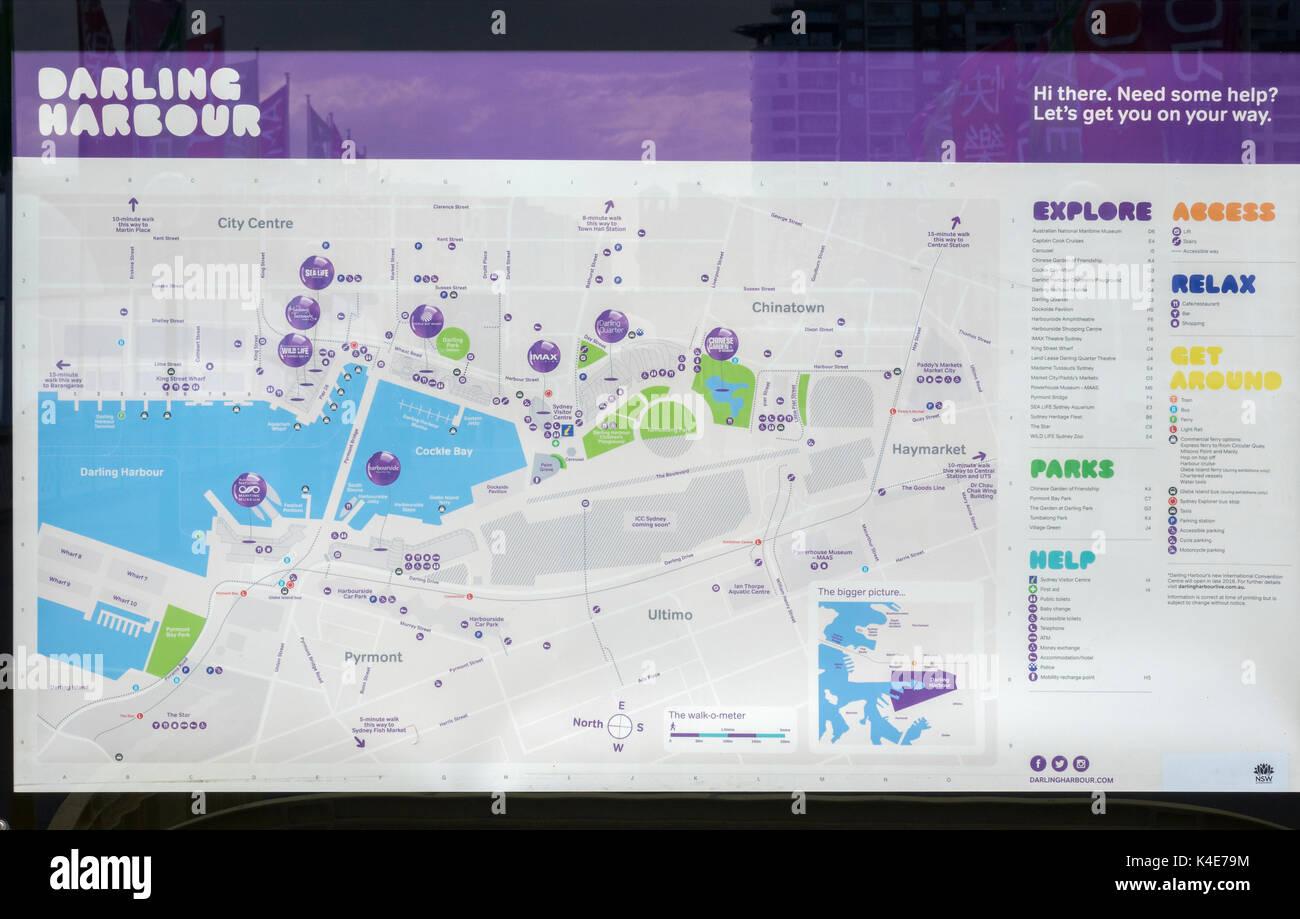 A Darling Harbour Public Tourist Map Sydney Australia Showing The Major Tourist Attractions - Stock Image
