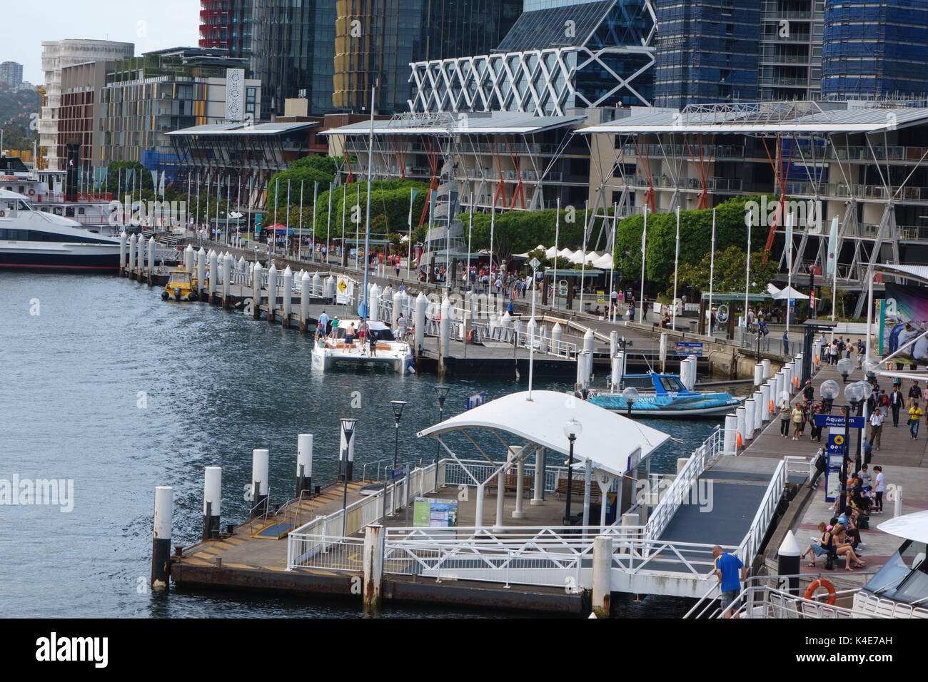 Skyscraper Buildings Along Darling Harbour Water Front At The Sydney Aquarium Ferry Stop Sydney Australia - Stock Image