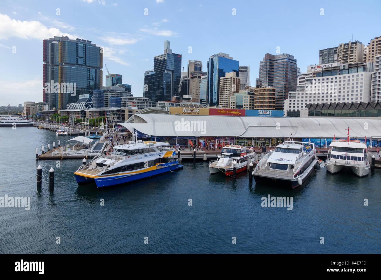 Sydney Skyline And Sydney Sea Life Aquarium From Darling Harbour Sydney Australia - Stock Image