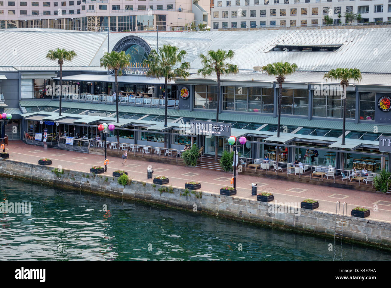 The Port At Darling Harbour Bars And Restaurants  And The Harbourside Shopping Centre By The Water Front Sydney Australia - Stock Image