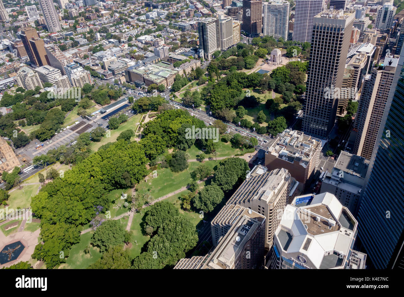 Aerial View Of Hyde Park Sydney From The Sydney Tower Eye - Stock Image