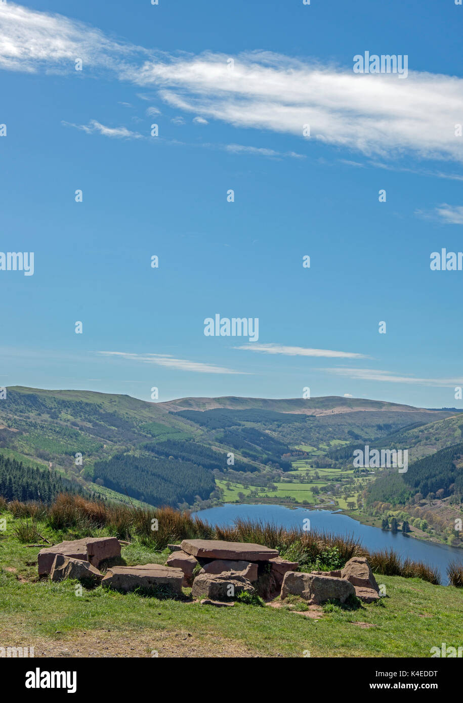 View Down to the Talybont Valley Brecon Beacons National Park, south Wales - Stock Image