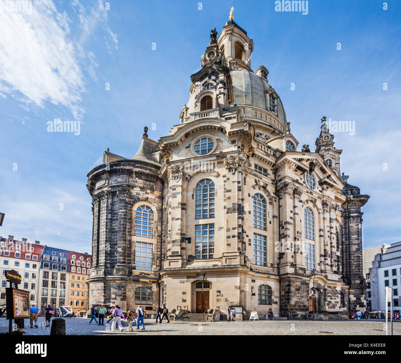 Germany, Saxony, Dresden, Neumarkt Square, view of the baroque sandstone structure of reconstructed Dresden Frauenkirche - Stock Image