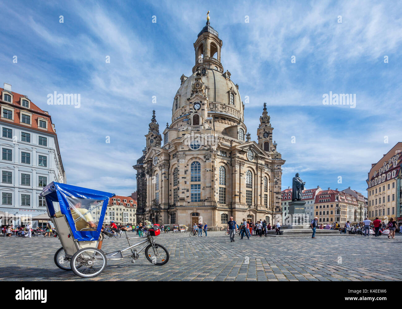 Germany, Saxony, Dresden, Neumarkt Square with view of the Martin Luther memorial and the reconstructed Dresden Frauenkirche - Stock Image
