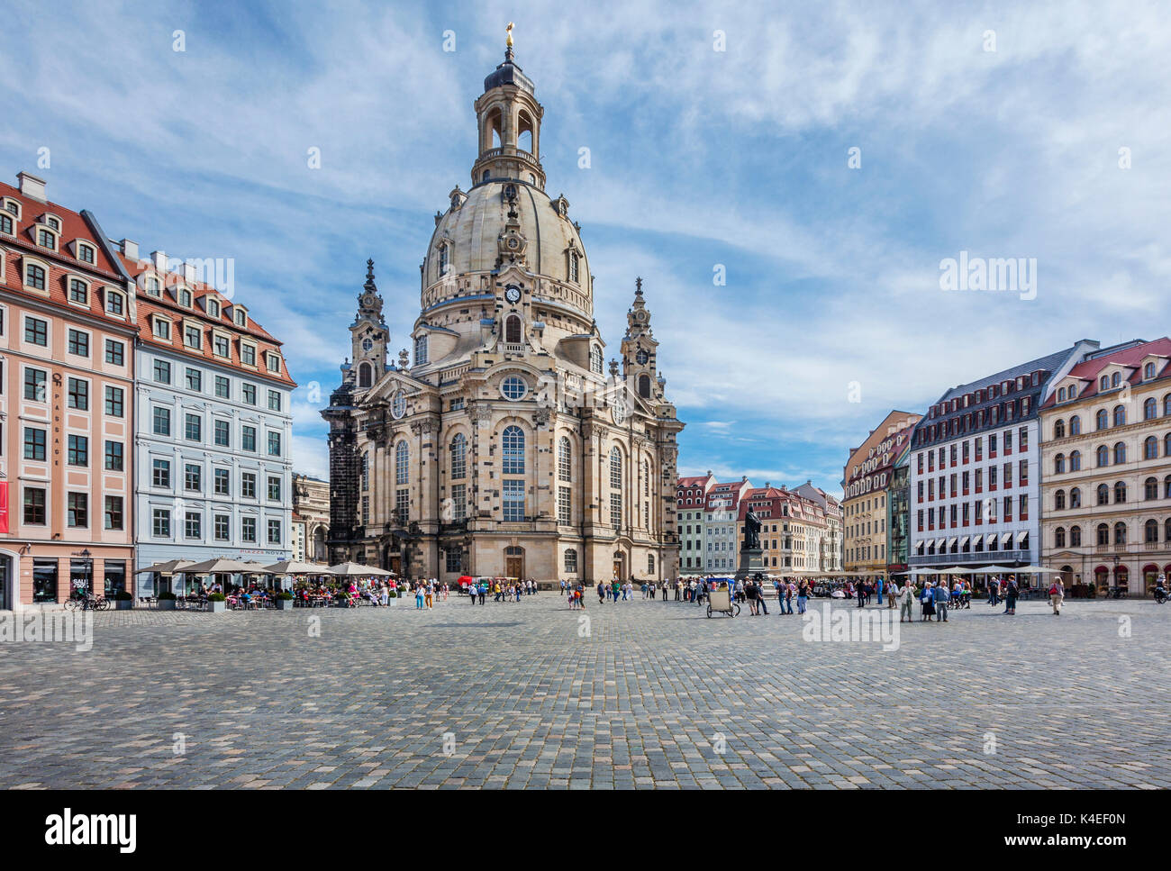 Germany, Saxony, Dresden, Neumarkt Square, view of the reconstructed Dresden Frauenkirche - Stock Image