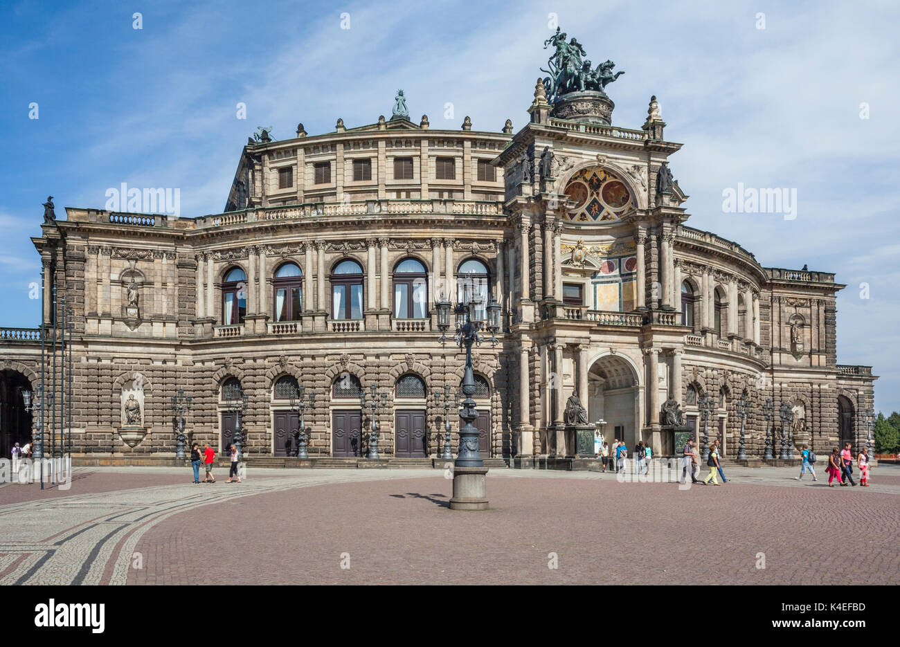 Germany, Saxony, Dresden, view the Dresden Opera House, better known as Semperoper, designed by the prominent Neo-Renaissance architect Gottfried Semp - Stock Image