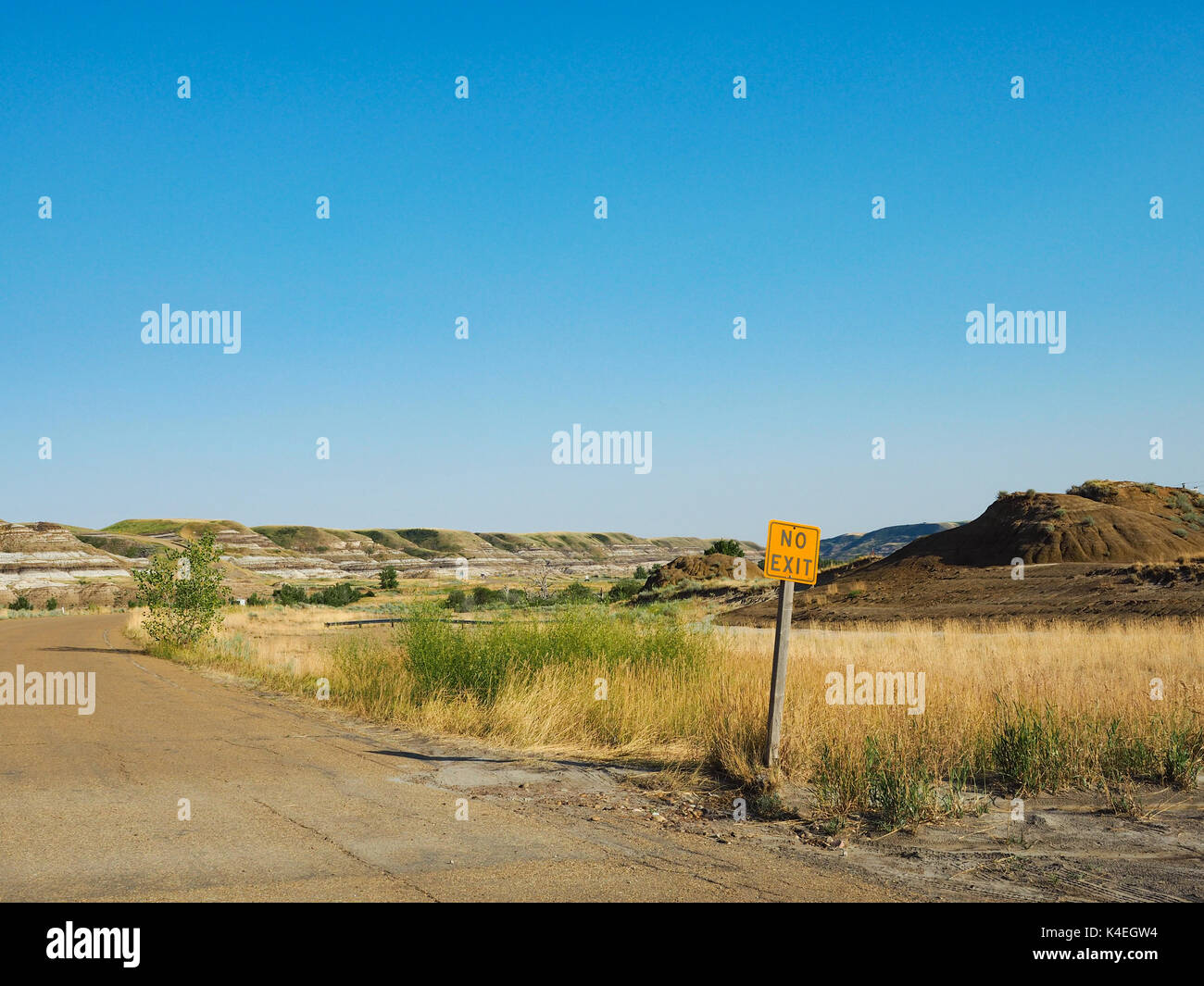 No Exit Sign in Drumheller, Alberta - Stock Image