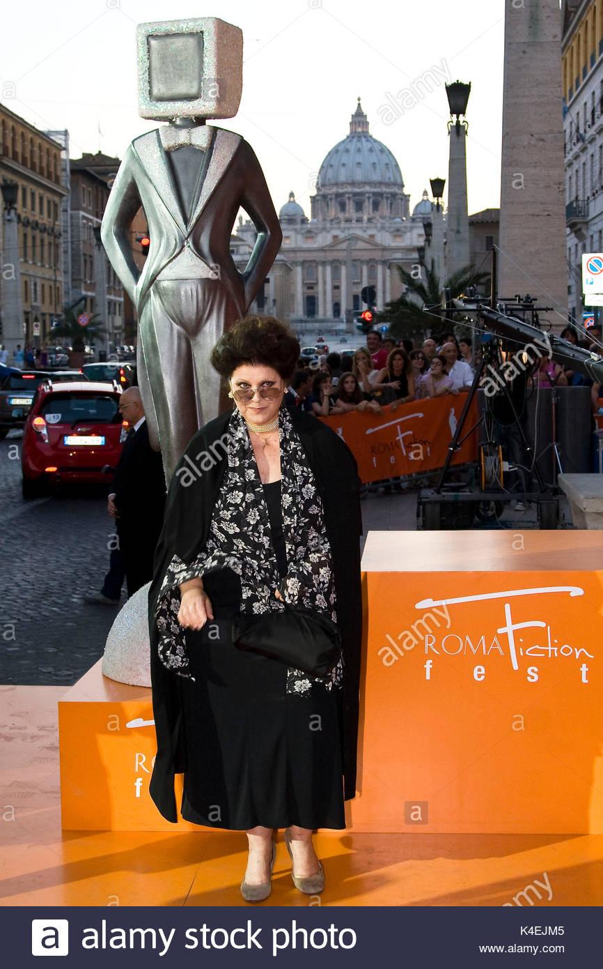 Claudia Mori. Orange carpet for the closing ceremony of the 4th 'Roma Fiction Fest'. - Stock Image