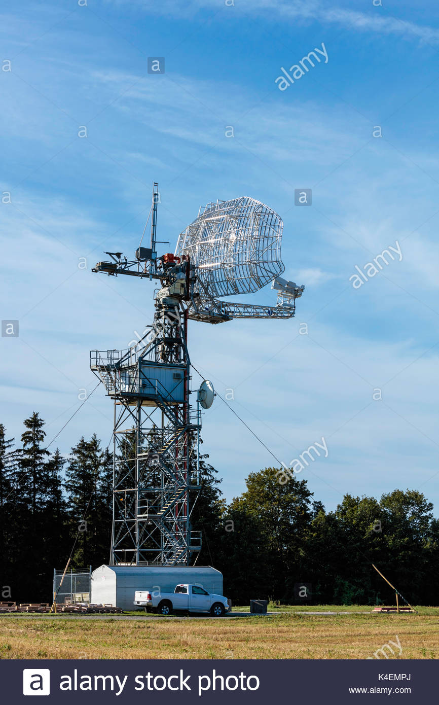 ASC Signal L-band Air Traffic Control Radar Antenna on ASC Antenna Test Range near Whitby Ontario Canada - Stock Image