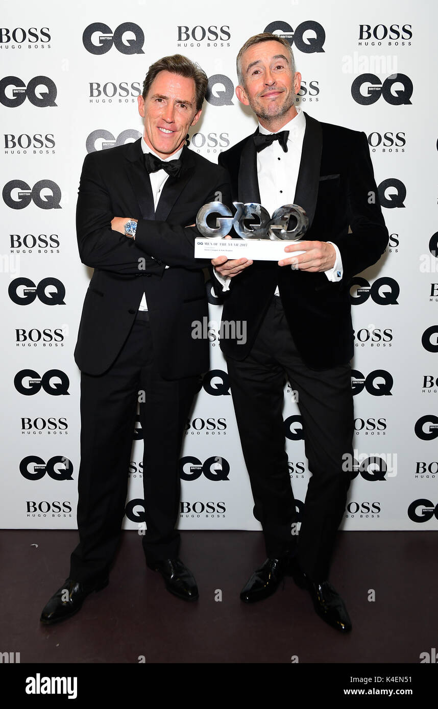 e0a4bce519 Rob Brydon (left) and Steve Coogan with their Best Comedians award during  the GQ