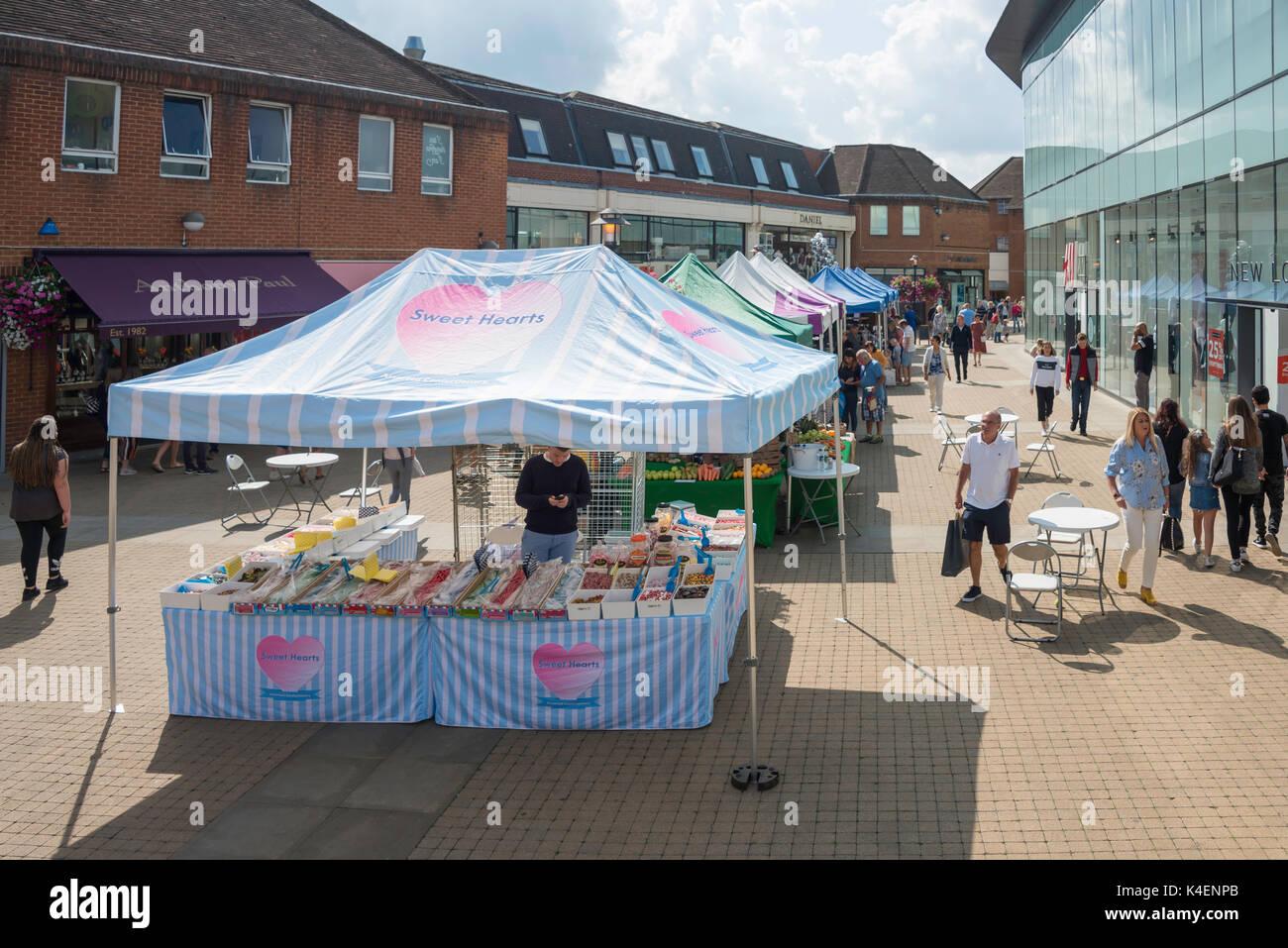 Food stalls, King Edward Court, Windsor, Berkshire, England, United Kingdom - Stock Image