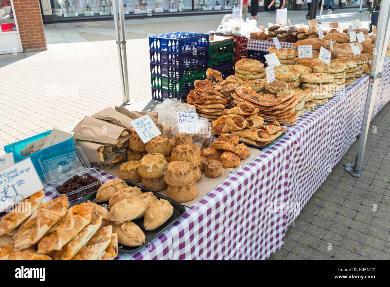 Pastries on food stall in King Edward Court, Windsor, Berkshire, England, United Kingdom - Stock Image