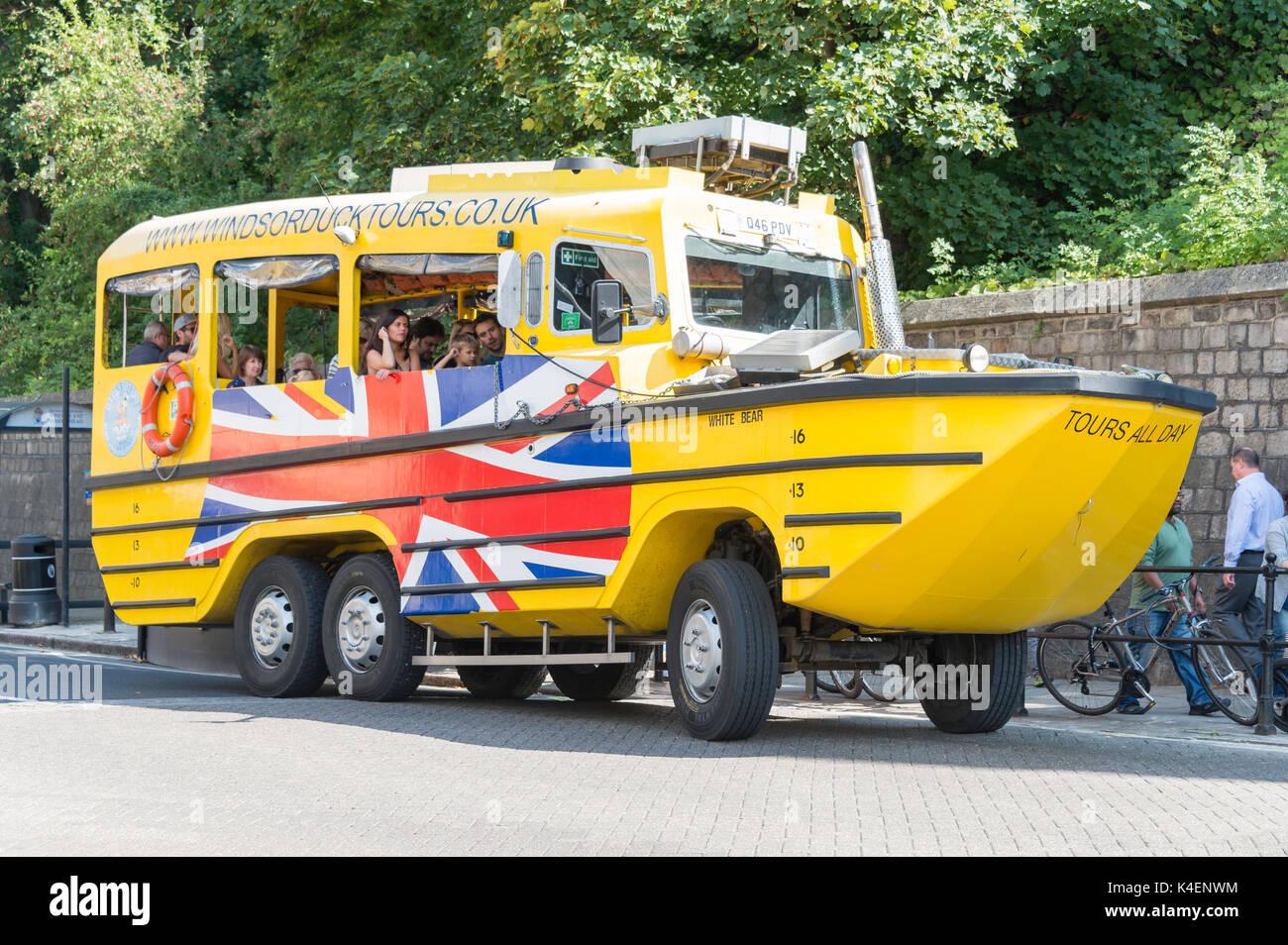 Windsor Duck Tours amphibious vehicle, High Street, Windsor, Berkshire, England, United Kingdom - Stock Image
