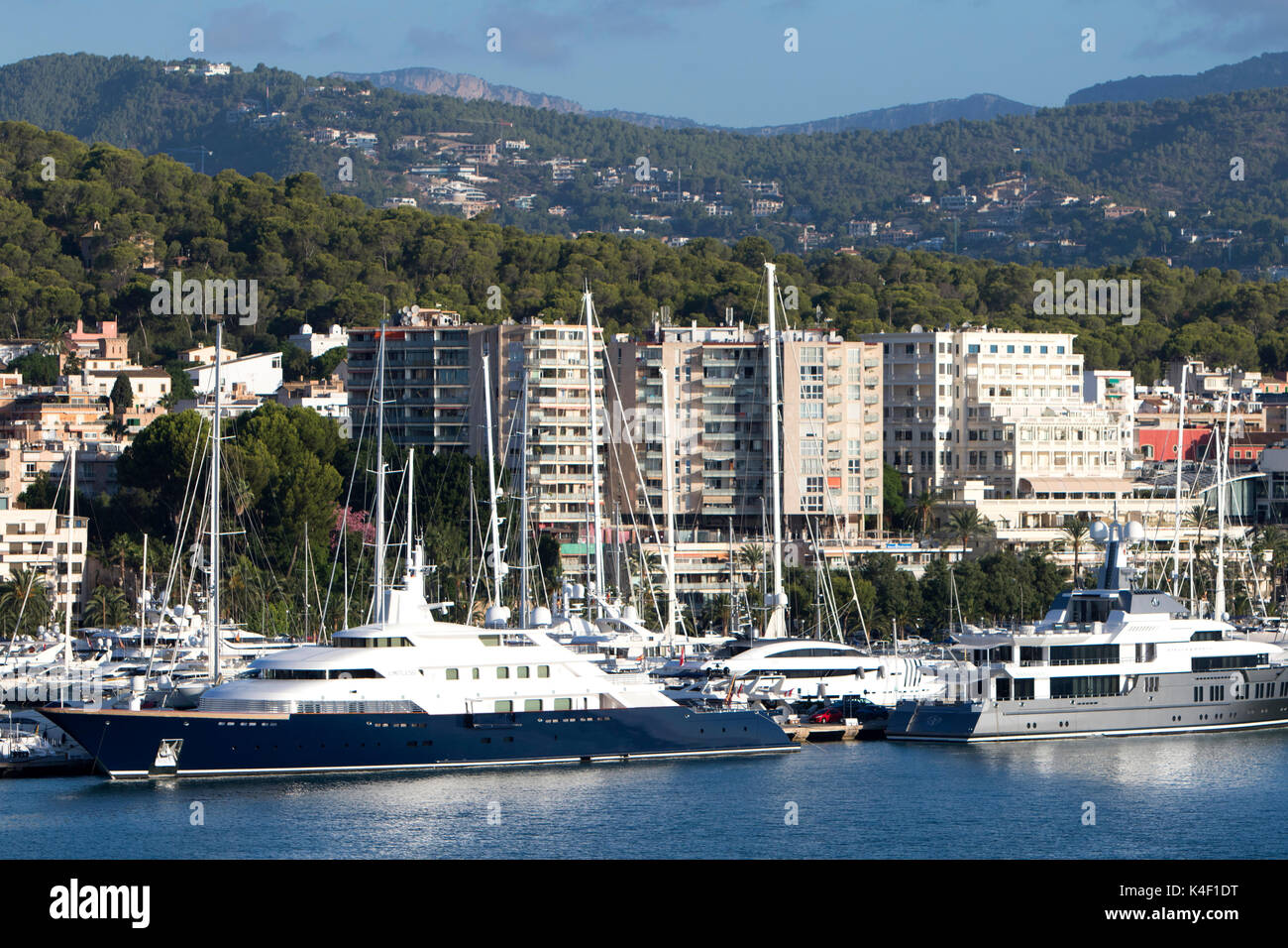 The Limitless one of the world's largest private superyachts at The Bay of Palma de Mallorca in the Balearic Islands in Spain, south coast of Majorca - Stock Image