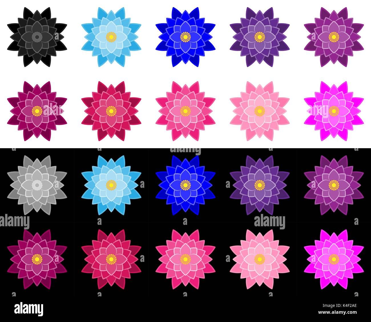 Lotus flower illustration stock photos lotus flower illustration set of lotuses performed a stroke and fills in various colors and hues lotus on izmirmasajfo