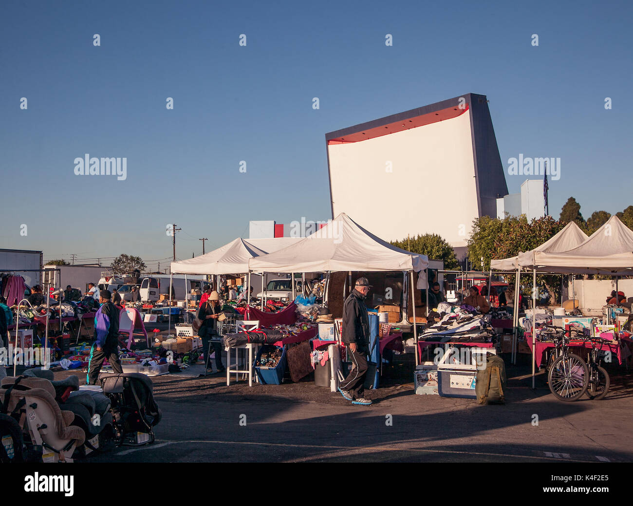 A lot of old drive-in theaters have now beome very popular swap meets to search for antiques collectibles and good old bargains. - Stock Image