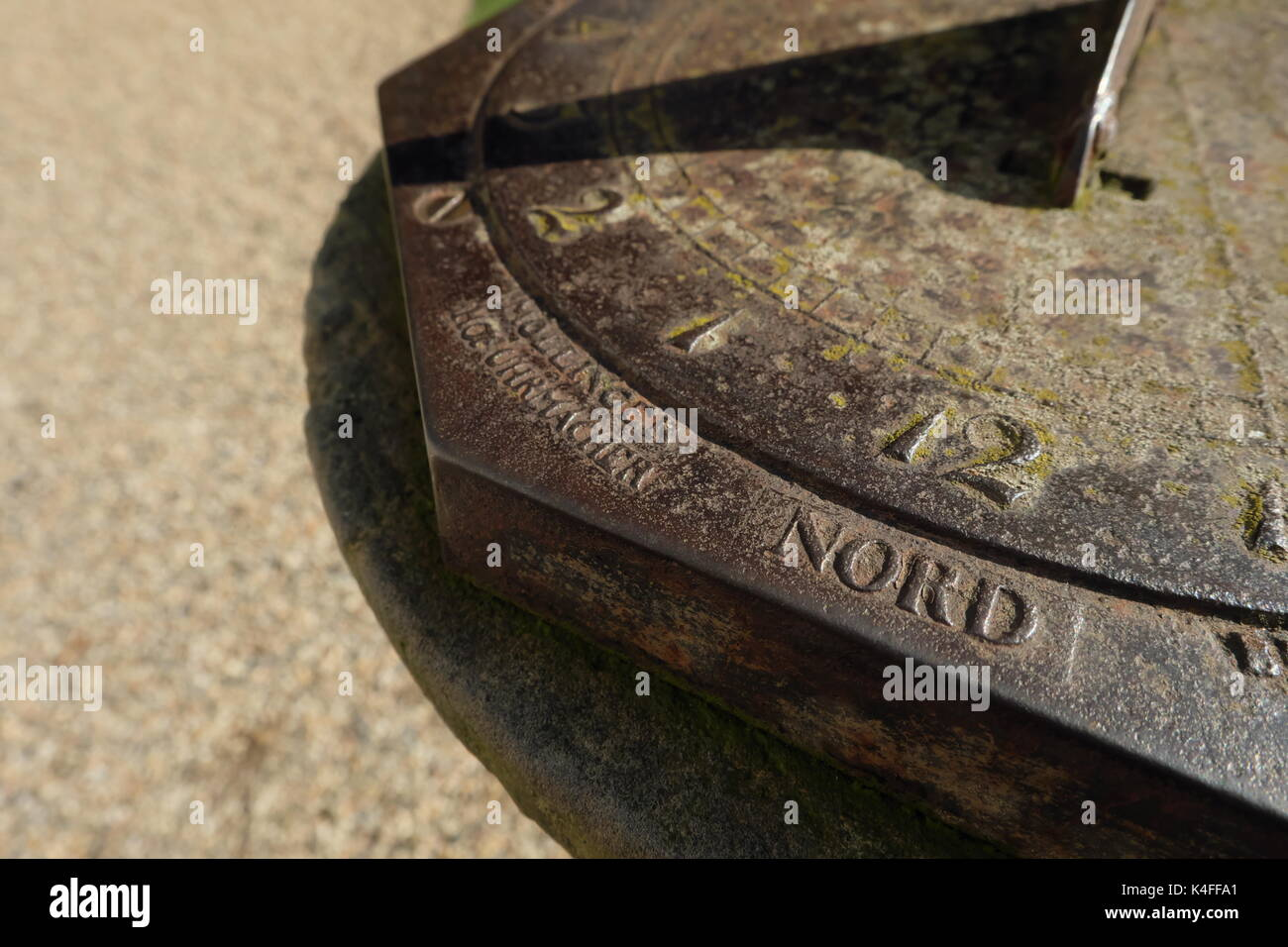 Sundial PfauenInsel, insctiption identifies the maker as the Court Clockmaker MOLLINGER, in 1820. - Stock Image