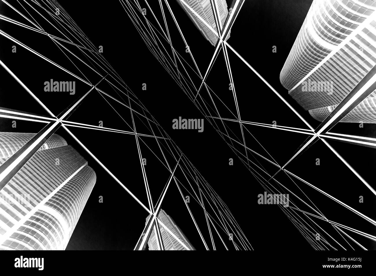 Abstract buildings background with B&W color - Stock Image