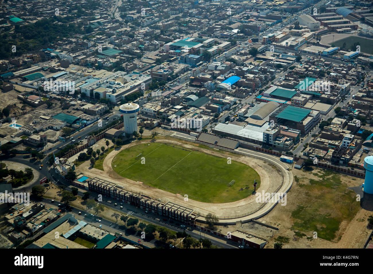 José Picasso Peratta Stadium, Ica, Peru, South America - aerial - Stock Image