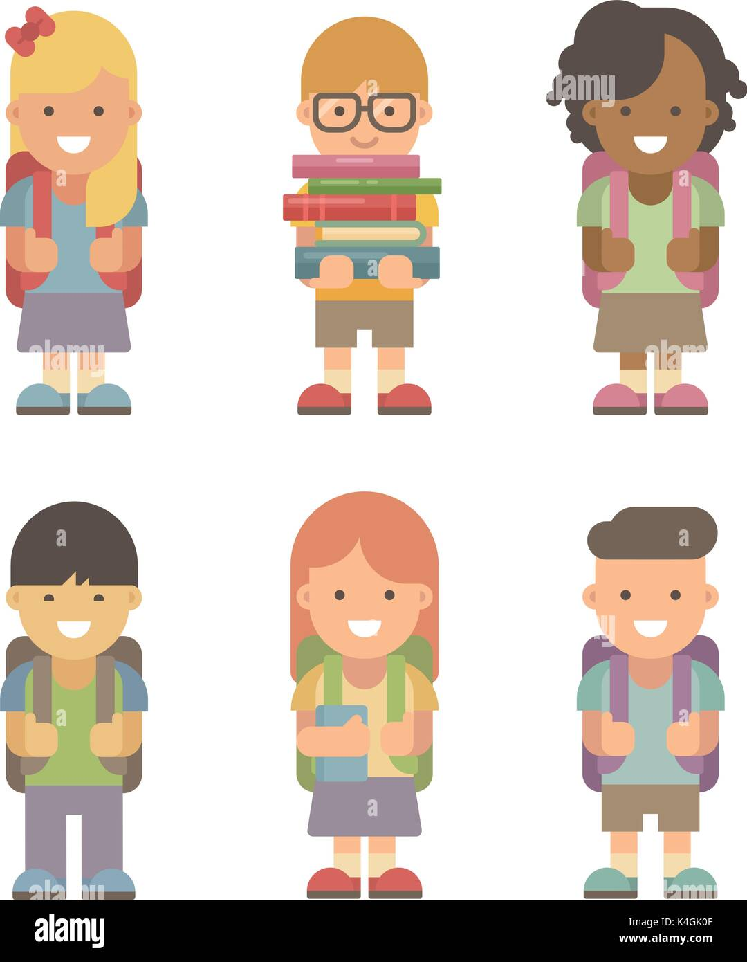 Schoolchildren. Set of six flat characters on white background. Back to school - Stock Vector