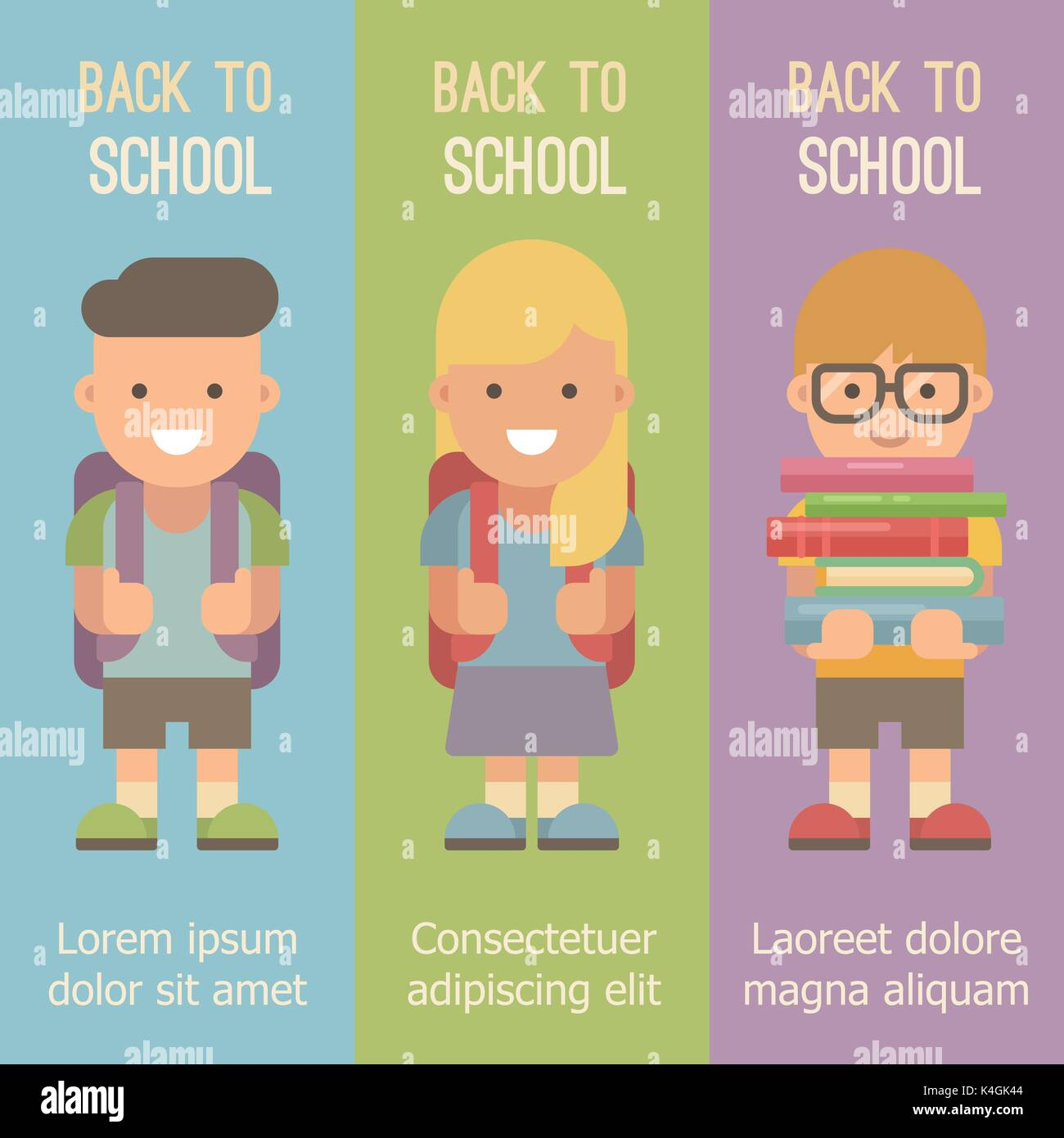Three vertical banners with schoolchildren with backpacks. Back to school - Stock Vector
