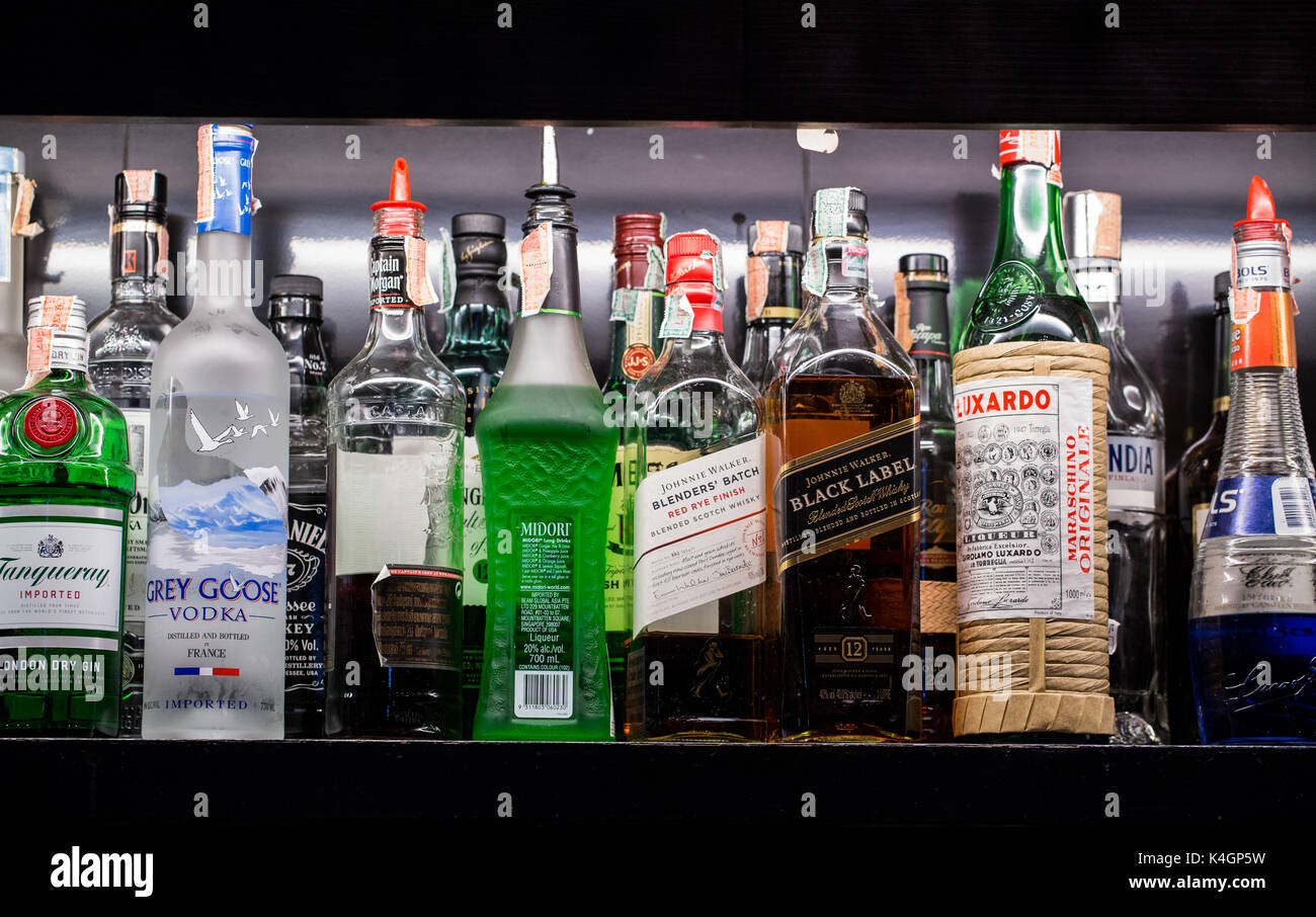 BANGKOK, THAILAND - October 23, 2017 - A variety of alcoholic beverages, Bernd, are placed on shelves in the bar Stock Photo